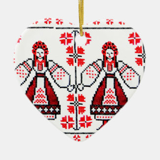 Traditional Ukrainian embroidery ukraine girls Christmas Ornament