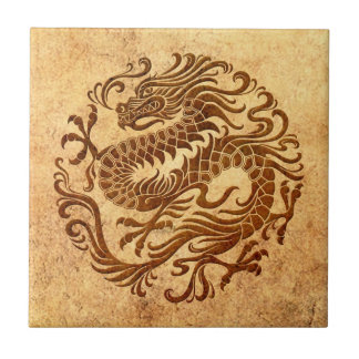 Traditional Vintage and Worn Chinese Dragon Circle Tile