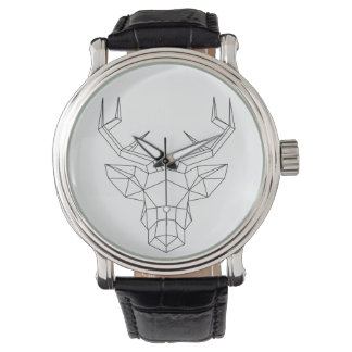 "Traditional watch leather Man ""Geometric deer """