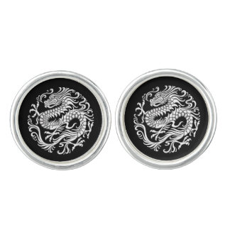 Traditional White and Black Chinese Dragon Circle Cufflinks