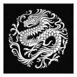 Traditional White and Black Chinese Dragon Circle Invite