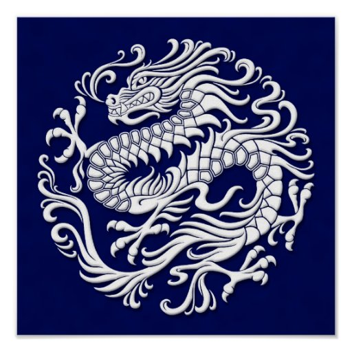 Traditional White and Blue Chinese Dragon Circle Posters