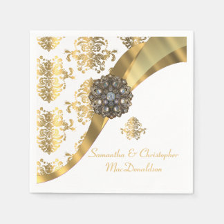 Traditional white and gold damask wedding disposable napkin