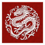 Traditional White and Red Chinese Dragon Circle Custom Invitations