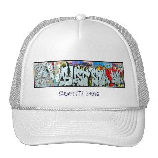 Traditional white cap with graffiti