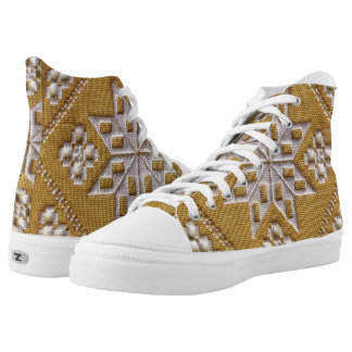 Traditional white cutwork embroidery, beige linen printed shoes