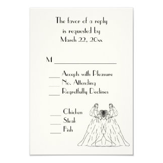 Traditional White Lesbian Wedding RSVP 9 Cm X 13 Cm Invitation Card