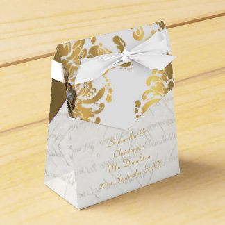 Traditional white parchmentand gold damask wedding party favour boxes