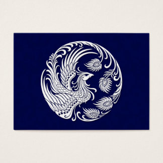 Traditional White Phoenix Circle on Blue
