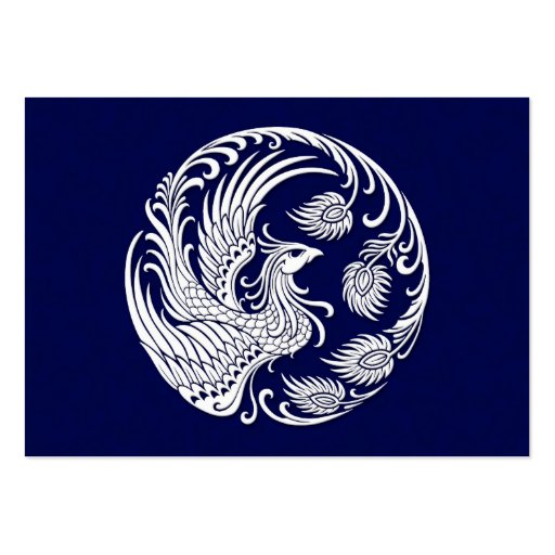 Traditional White Phoenix Circle on Blue Business Card Template