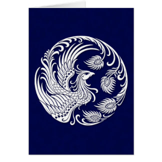 Traditional White Phoenix Circle on Blue Card