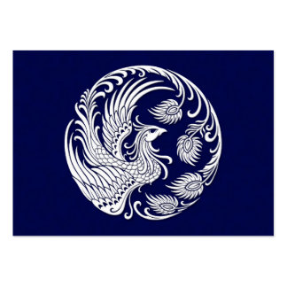 Traditional White Phoenix Circle on Blue Pack Of Chubby Business Cards