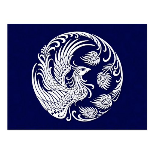 Traditional White Phoenix Circle on Blue Postcards
