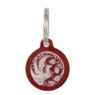 Traditional White Phoenix Circle on Red Pet Nametag