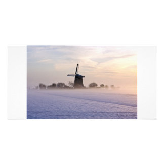 Traditional windmill in winter in the Netherlands Card