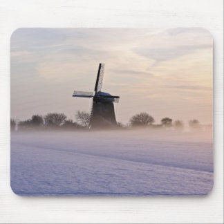 Traditional windmill in wintertime in Netherlands Mouse Mat