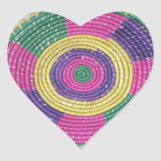 Traditional Woven Plate whirl Heart Sticker