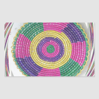 Traditional Woven Plate whirl Rectangular Sticker