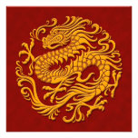 Traditional Yellow and Red Chinese Dragon Circle