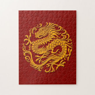 Traditional Yellow and Red Chinese Dragon Circle Puzzles