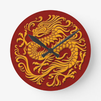 Traditional Yellow and Red Chinese Dragon Circle Round Clock