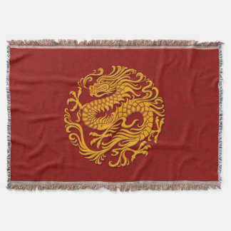 Traditional Yellow on Red Chinese Dragon Circle Throw Blanket