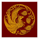 Traditional Yellow Phoenix Circle on Red Poster