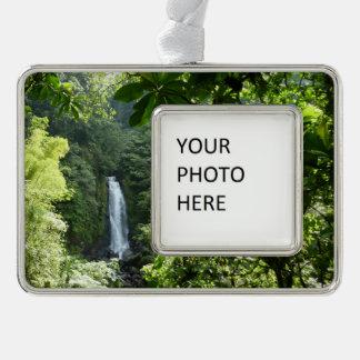 Trafalgar Falls Tropical Rainforest Photography Silver Plated Framed Ornament