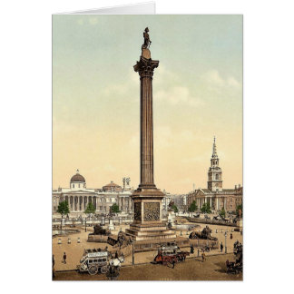 Trafalgar Square and National Gallery, London, Eng Card