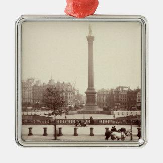 Trafalgar Square, London (sepia photo) Silver-Colored Square Decoration