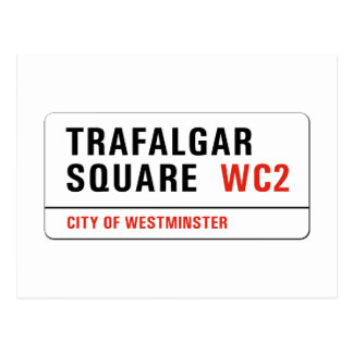 Trafalgar Square, London Street Sign Postcard