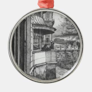 Trafalgar Tavern by James Tissot Silver-Colored Round Decoration