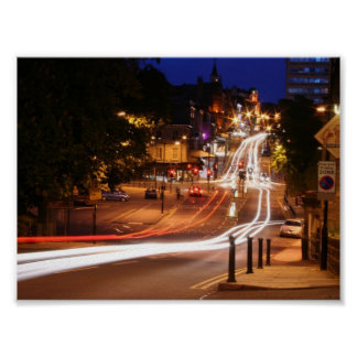 Traffic At Night In Harrogate Town Centre Poster