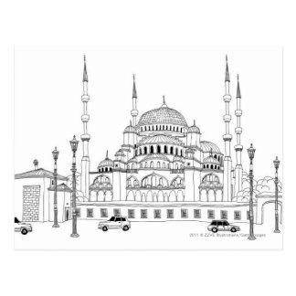 Traffic by mosque postcard