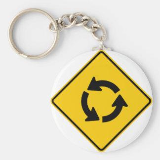 Traffic Circle Highway Sign Key Ring