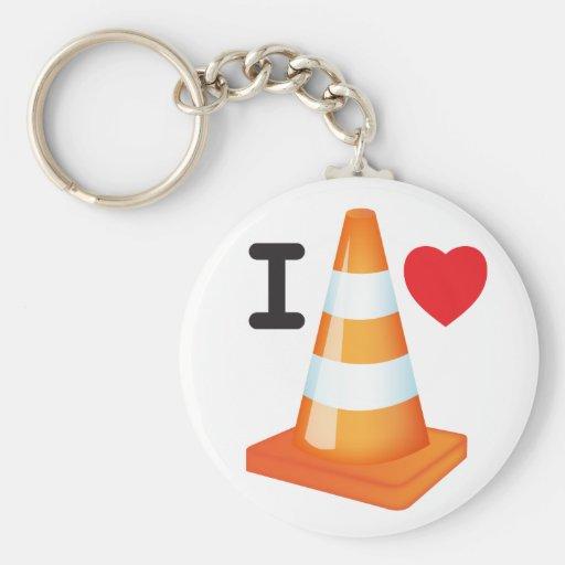 Traffic Cone Orange White Stripes Keychain