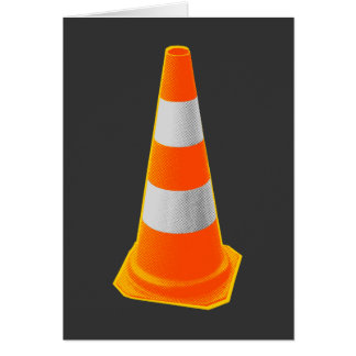 Traffic Cone with Grey Stripes Greeting Card