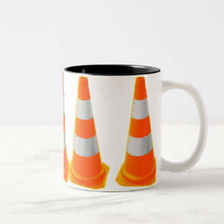 Traffic Cone with Grey Stripes Two-Tone Coffee Mug