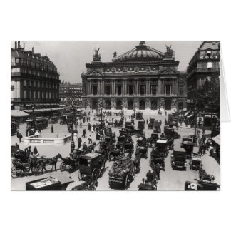 Traffic in front of the Paris Opera House Card