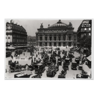 Traffic in front of the Paris Opera House Poster