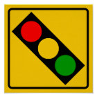 Traffic Light Ahead Highway Sign