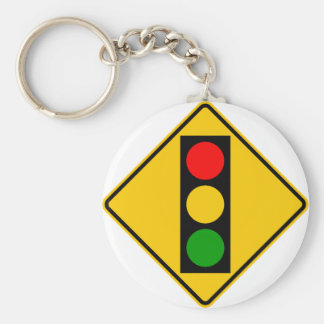Traffic Light Ahead Highway Sign Basic Round Button Key Ring