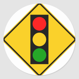 Traffic Light Ahead Highway Sign Classic Round Sticker