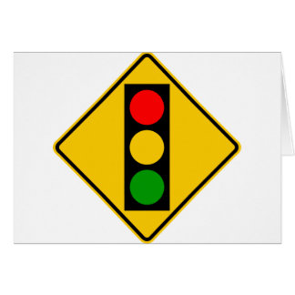 Traffic Light Ahead Highway Sign Greeting Card