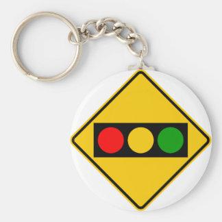 Traffic Light Ahead Highway Sign Key Ring