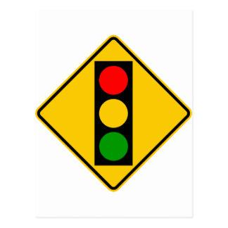 Traffic Light Ahead Highway Sign Postcard