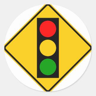 Traffic Light Ahead Highway Sign Round Sticker
