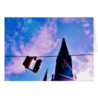 Traffic Light and Steeple Greeting Card