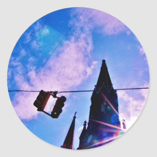 Traffic Light and Steeple Round Sticker