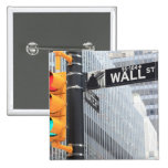 Traffic Light and Wall Street Sign 15 Cm Square Badge